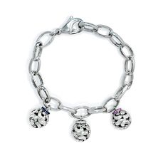 This beautiful Charles Krypell SweetPea Collection charm bracelet features individually sold sterling silver charms with white, blue or pink sapphires. Each charm is meant to represent children and grandchildren. This piece makes a unique gift idea to a parent or grandparent for her birthday, mothers day or the holidays.  This charm bracelet is approximately 8.25 inches in length and the charms measures 18mm in length and 12mm at the widest point. #gifts #newborn #mothersday