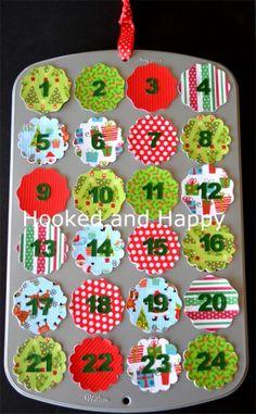 Mini Muffin Tin Advent Calendar via hookedandhappy.com #christmas