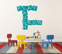 Scrabble Decal Play Laugh Grow Play Room Childrens by NewYorkVinyl, $14.00