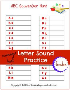 FREE ABC Scavenger Hunt List!  Fun way to practice their sounds and spelling!