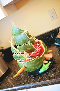 Pirate Ship Watermelon - Peter Pan Birthday Party - Captain Hook - Jolly Roger