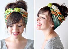 diy headband, head scarfs, bun hairstyles, vintage hairstyles, tie, summer hair, updo, scarv, bang