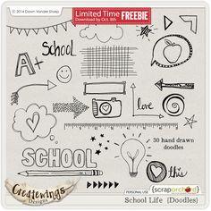 Quality DigiScrap Freebies: School Life Doodles freebie from Createwings Designs