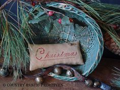 Primitive Christmas Cupboard Keep Pillow Cross by countryrustic, $7.00