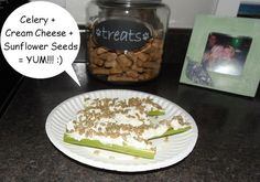 Healthy, Low Carb Snack! ~ Celery + Cream Cheese + Sunflower Seeds... Mmmmmm!