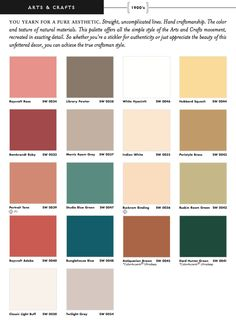 Sherwin Williams Arts & Crafts Historic colors - Interior.