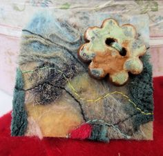 Fiber Art  Brooch needle felted and stitched lutradur by artmixter, £8.00