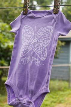 Baby onesie hand dyed purple with butterfly mariposa by lilyandgus, $25.00