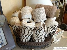 Neutral toned twine in a vintage basket