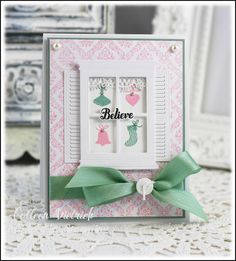 Pastel Christmas card using Inspired By Stamping stamps. Memory Box window dies.