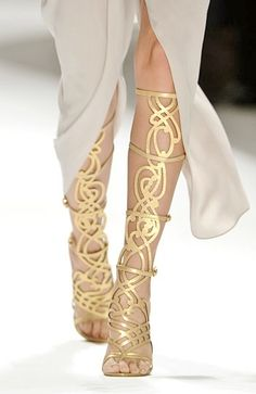 ornate gold gladiator sandals...i could make a SPLASH in rome with these this summer FOR SURE!  xo