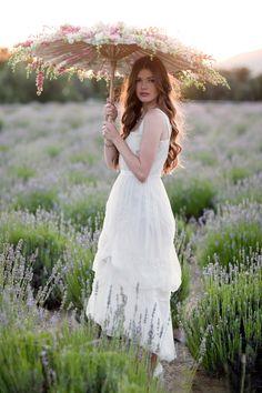 idea, umbrellas, bridal dresses, lavender fields, weddings, parasol, vintage bridal, bride, flowers