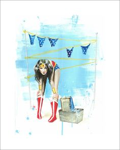 WONDER WASH Limited Edition Print by Lora Zombie