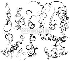 Swirl Tattoo Designs For Girls | Floral silhouette, element for design, vector tattoo from Lana ...