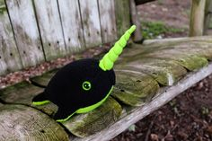 Narwhal Plush in Black and Lime Green - Large