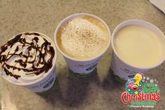 Try one of our delicious holiday themed Starbucks drinks. Choose from Peppermint Mocha, Gingerbread Latte, or Eggnog. Available for a limited time.