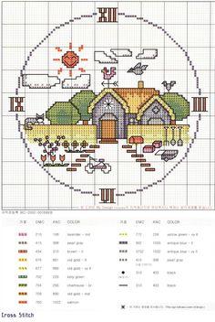 Schema punto croce Orologio Casetta2