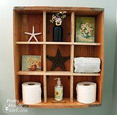 Rustic shelf from bread crate