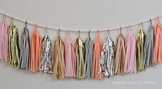 Tassles for a photo backdrop? Guaranteed Instagrams and cool status. Melon Fizz Tissue Tassel Garland - $35.00