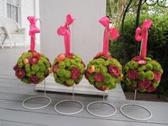 green, pink, and orange pomander balls