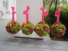 green, pink, and orange pomander balls