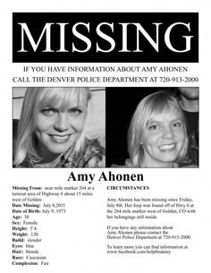 Amy Ahonen-ASID Colorado Missing Poster