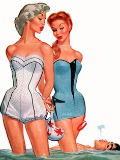 Jantzen Swimsuit ad detail, art by Pete Hawley.