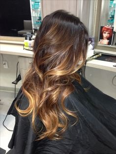 Darke brown base balayaged to a multidimensional chocolate and caramel ombré @Liz Mester Mester Toolan Blizzard