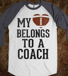 My Heart Belongs To A Football Coach (Baseball Tee) - Sports Girl - Skreened T-shirts, Organic Shirts, Hoodies, Kids Tees, Baby One-Pieces and Tote Bags