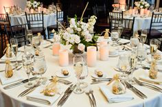 The Gorgeous Tables are Set - George Street Photo & Video #aldencastle #modernvintage #weddings #ballroom