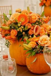 orange roses in pumpkin.. would be absolutely perfect for fall