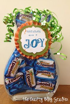 Fun and easy Birthday Candy Jar.  Great Gift! This is also going to be really good because my grandma's name is Joy!!