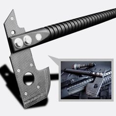 Carbon Fiber Zxe - this lightweight tool is made of a hardened titanium core with a carbide-tungsten edge, sandwiched between two layers of carbon fiber and fastened via titanium hardware. The handle is turned from a solid bar of carbon fiber. Super light and ultra fast... ready for your next zombie attack.