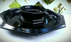 Vintage Black Tiara Glass Platter and Chip Dip by energyforthesoul, $15.00