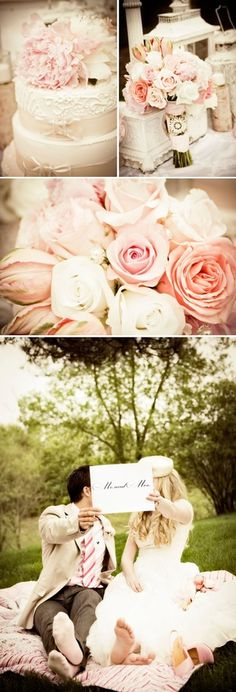 Shabby Chic Wedding {these colors with a sprig of maroon and yellow}