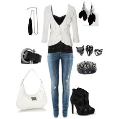 """Sweet Biker Chic - Black and White"" by amanda-delyser on Polyvore"