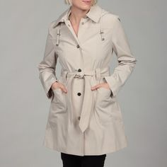 @Overstock - Bundle up on a blustery day with this pretty hooded coat from London Fog. This fully lined coat features attractive details, such as a belted waist, to instantly add style to your winter outfit. A snap-front closure makes it easy to put on and take off.http://www.overstock.com/Clothing-Shoes/London-Fog-Womens-Putty-Snap-Front-Hooded-Coat/6362706/product.html?CID=214117 $32.99 rain coat, hood coat, pinterest closet, coats, coat featur