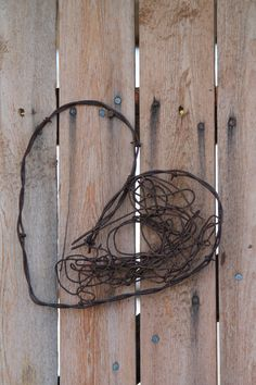 handmade rusted barbed wire heart western wall decor