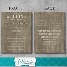 Rustic Elegant Wedding Program  DIY  by OohlalaPoshDesigns on Etsy
