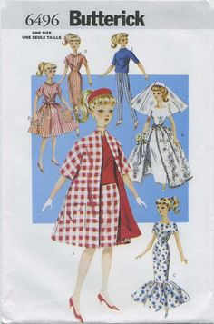 Vintage Barbie™ Doll Clothes Sewing Pattern | Retro 11½ Fashion Doll Clothes | Butterick 6496 | Year 1999 | One Size | Reissue of Butterick 9993 from the year 1961