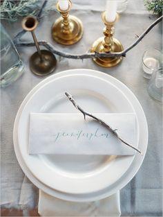 wedding calligraphy and organic table setting by Brown Linen Design at #erichmcveyworkshop  http://www.weddingchicks.com/2013/11/11/erich-mcvey-workshop/