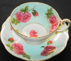 EB FOLEY BLUE CENTURY Rose Roses  Tea cup and saucer Teacup