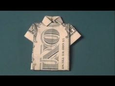 How To Make a Dollar Bill T-Shirt Origami - Fun Tutorial - Shirt with Co...