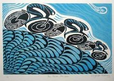 Elizabeth Rashley.  I work from my studio in East Ogwell. I carve out my ideas on lino and print the blocks using a fabulous 1844 Victorian Albion Printing Press.