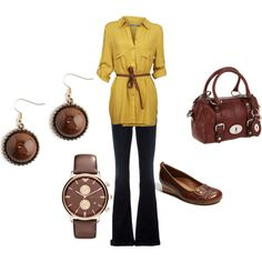 Love the yellow shirt dress with the brown belt!