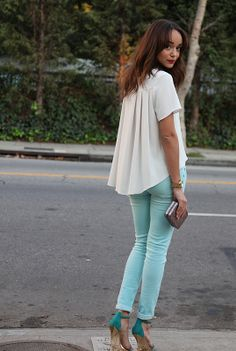 Love the pastel pants with bright shoes.