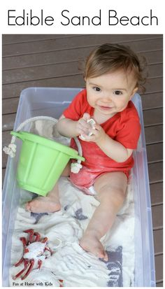 Baby/Toddler Beach Sensory Bin with EDIBLE Sand!    From Fun at Home with Kids white cornmeal
