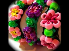 ▶ Made by Mommy's Beaded Flower Bracelet for the Rainbow Loom - YouTube