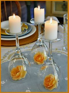 table centrepieces, candle holders, simple centerpieces, candles, dinner parties