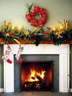 Christmas in Hawaii - mantel with Hawaiian stockings and red wreath